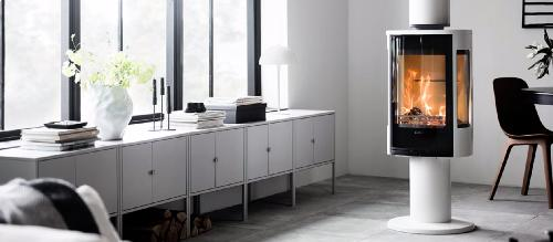 Contura 886 - Contura 886 white - Glass door, aluminium lacquered top plate - Carron-Lugon