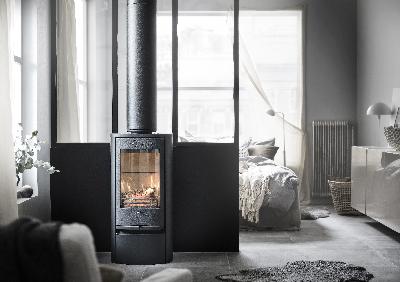 Contura 810 black - Cast iron door, lacquered aluminium top plate and door