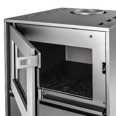 Richtig heiß: Der Teil des Ofens wird allseitig mit Heißluft belüftet, was eine gleichmäßige Wärmeverteilung bis zu 250° C ermöglicht.