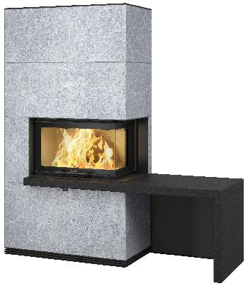 Contura i41T - Contura i41T met plank en bank in het zwart - Carron-Lugon