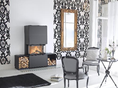 Contura i51 - Contura i51 zwarte versie met houten opbergrek - Carron-Lugon