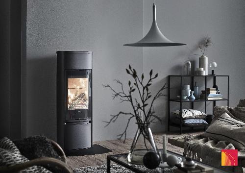 Contura 890 - Contura 890 preto - Porta de vidro, placa superior em alumínio lacado - Carron-Lugon