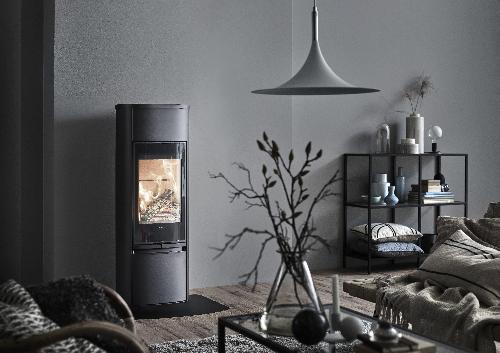 Contura 890 - Contura 890 negro - Puerta de vidrio, placa superior de aluminio lacado - Carron-Lugon