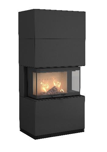Contura i51 - Contura i51 versión negra con estante de almacenamiento de madera - Carron-Lugon