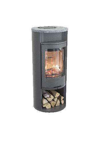 Contura 610 - Contura 610 grigio - Anta in ghisa, piastra superiore in alluminio laccato - Carron-Lugon