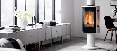 Contura 886 blanc - Porte en verre, plateau supérieur en aluminium laqué