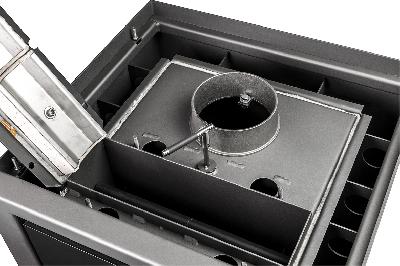 Os gases de combustão quentes são dirigidos sobre a câmara de combustão através das câmaras de acumulação.
