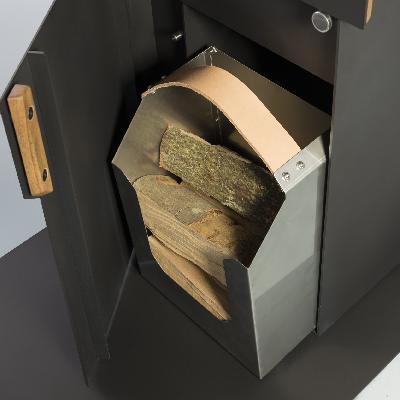 Recipiente de acero inoxidable integrado para la madera.