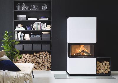 Contura i51 versão branca com estante de armazenamento de madeira