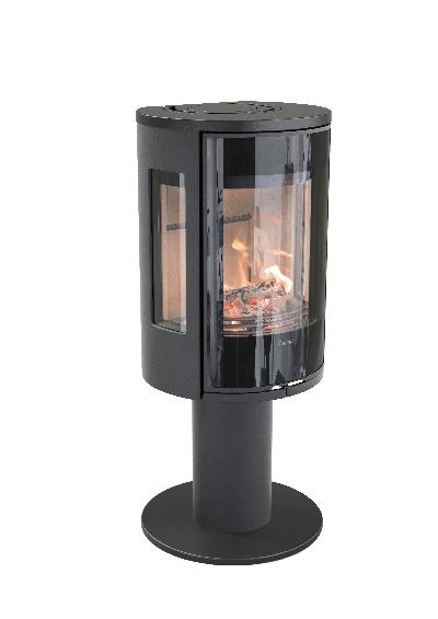 Contura 586 negro - Puerta de hierro fundido, estante de cristal