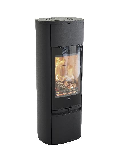 Contura 890 preto - Porta de vidro, placa superior em alumínio lacado
